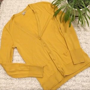Halogen V-Neck Cardigan Sweater Mustard Size M